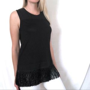 J. Crew Fringe Hem Black Sleeveless Top Size Small